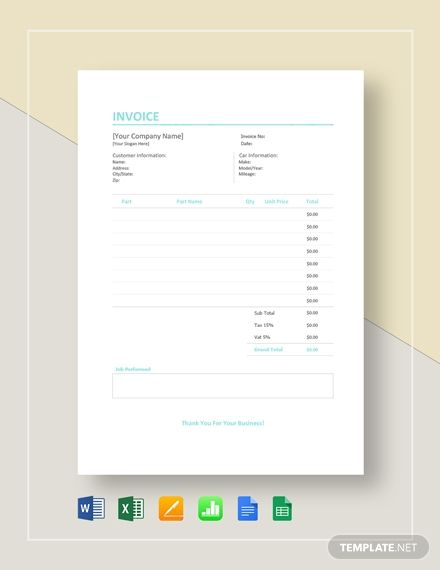 Instantly Download Auto Repair Invoice Template Sample Example In Microsoft Word Doc Microsoft Exce Invoice Template Word Invoice Template Invoice Design
