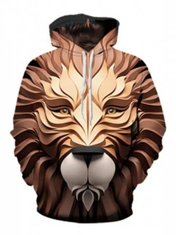 5ae774d7 Lion Head Print Pouch Pocket Hoodie in 2019 | Www | Printed ...