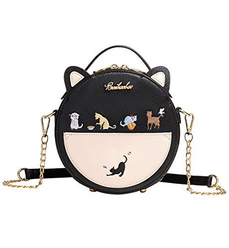 0c88826210ef Tom Clovers Womens Girls Embroidered Cats Round Crossbody Bag Sling ...