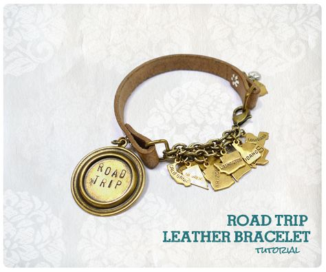 Make a state bracelet for a friend or family member who travels. This Road Trip bracelet can be easily customized to say 'my family' and have a state for each family member or loved one who resides far away. #handmade #gift #mom #grandma #mother #state #custom #diy