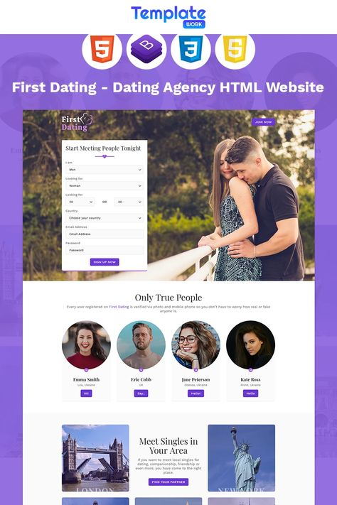 First Dating - Dating Agency Landing Page Template #96094