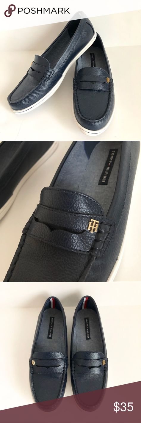 Tommy Hilfiger Womens Navy Blue Loafers