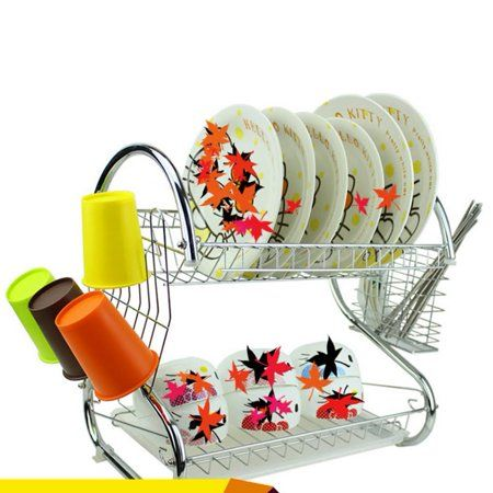 2 Tiers Dish Drainer Holder Kitchen Quick Dry Dish Cup Rack