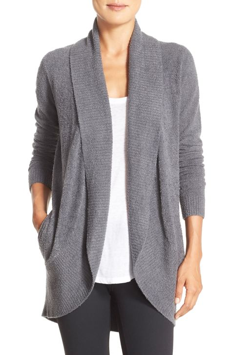 Women's Barefoot Dreams Cozychic Lite Circle Cardigan, Size Large/X-Large - Grey