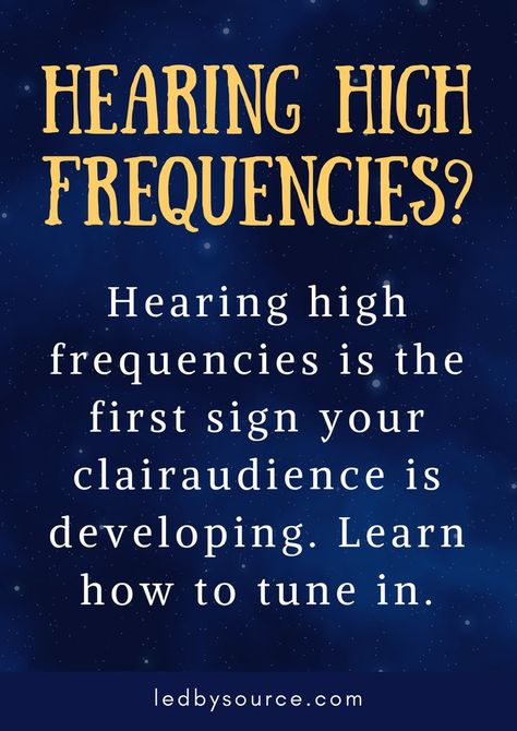Learn about the connection between hearing high frequencies and the psychic sense clairaudience. This is a sign your subtle senses are opening up. Spiritual Awakening Quotes, Spiritual Healer, Psychic Awakening, Healing Quotes, Spiritual Gifts, Spiritual Wisdom, Spiritual Growth, Psychic Development, Spiritual Development