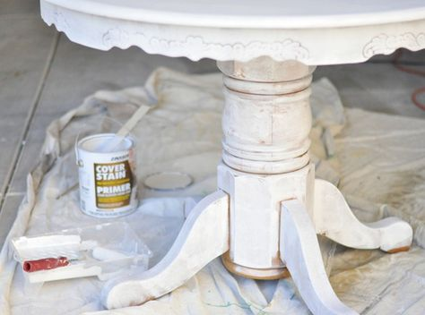 How to sand, prime and paint a kitchen table from Centsational Girl