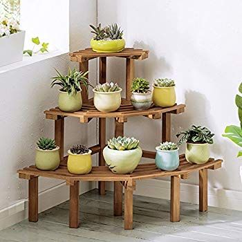 Amazon Com Zhen Guo Corner Step Style Wooden Plant Rack Display