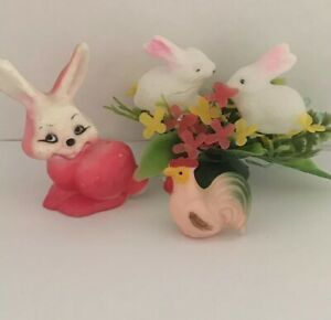 Lot 3 Celluloid Easter Decorations Minis Plastic Pink Bunny
