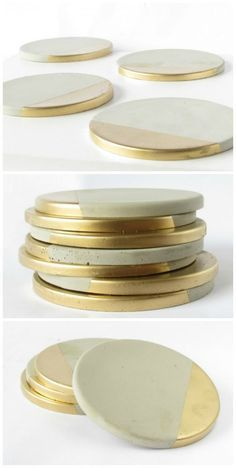 Concrete Coasters with Gold Concrete Coasters with Gold - Set of Four - Four handmade concrete coasters with metallic gold paint detail. Set comes with cork pads to protect furniture surfaces.