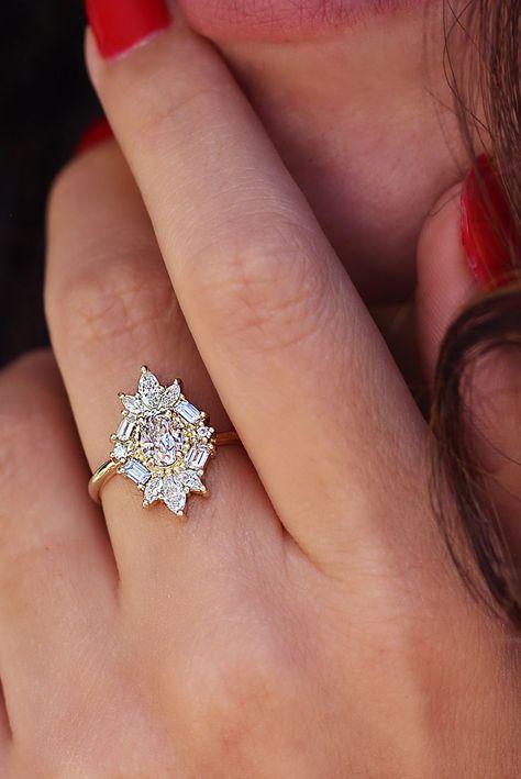Einzigartiger Ovaler Diamant Verlobungsring Ballerina Ring 1 3 Karat Art Deco Verlobungsri Foto Criativas Criatividade
