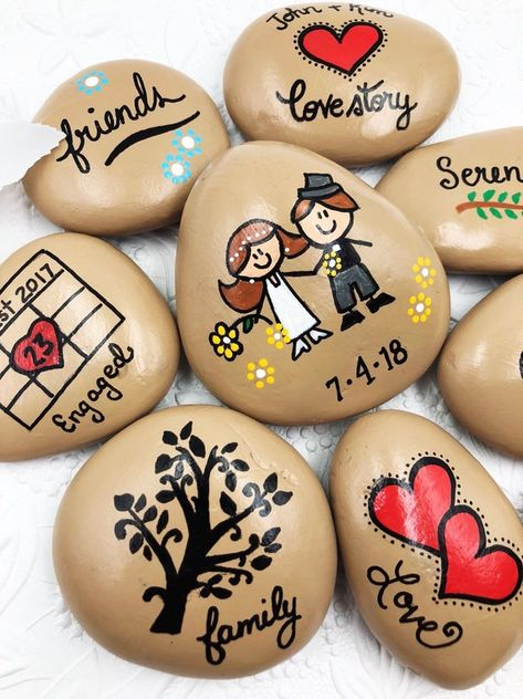 OUR LOVE STORY Painted Stones: give a special Bride-to-Be or Groom-to-Be a set of hand-painted stones depicting their very own love story! This set will be cherished for years to come! Story Stones allow a person to tell a particular story in their own words, with their own personal embellishments.