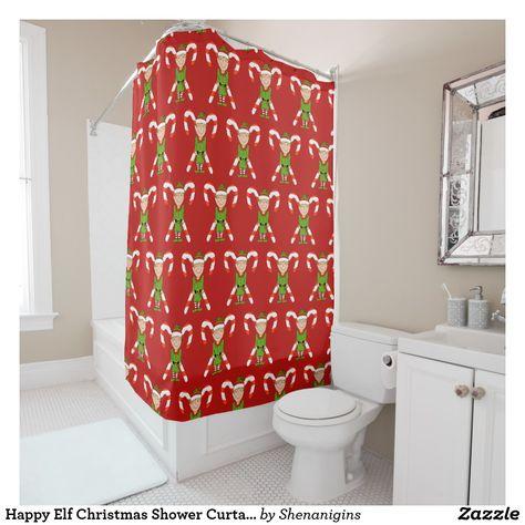 Happy Elf Christmas Shower Curtain