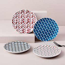 Folk Pad Print 7 Serve Bowl Paisley Plate Sets Plates