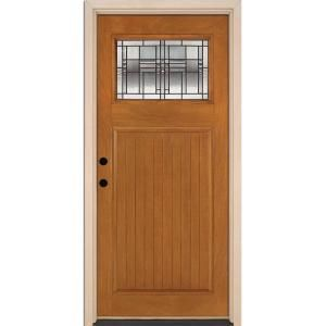 Feather River Doors 37 5 In X 81 625 In Monroe Patina Craftsman 1 4 Lite Stained Honey Mahogany Rh Inswing Fiberglass Prehung Front Door N53d91 Honey Mahogany Fiberglass Door Front Door