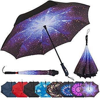 Repel Reverse Folding Inverted Umbrella with 2 Layered Teflon Canopy with Reinforced Fiberglass Ribs Black