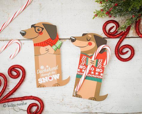 Weenie Dog Holiday Christmas Printable Dachshund Puppy Weiner | Etsy