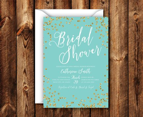 Elegant Modern Rustic Turquoise & Gold Bridal Shower Wedding Shower Invitation 5x7 Digital File or Printed Invites
