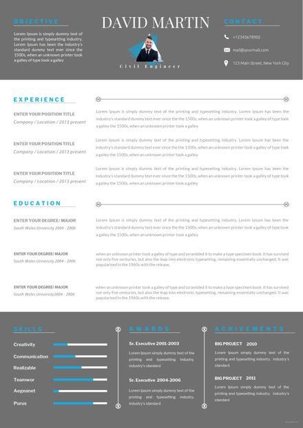 Free Resume For Experienced Software Engineer Template Civil Engineer Resume Engineering Resume Templates Engineering Resume