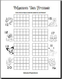 Pokemon Ten Frames Free Math Worksheet With Images Free Math
