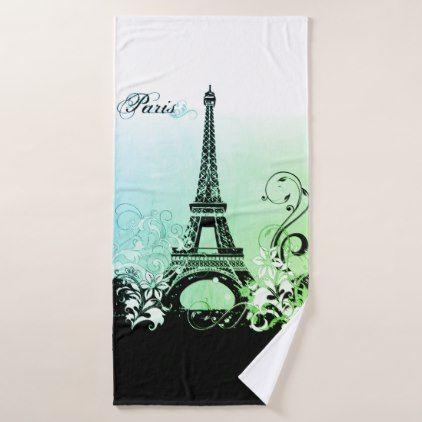3 Pice Bath towel set Embroidered Bath Towels Eiffel Tower Towel Paris