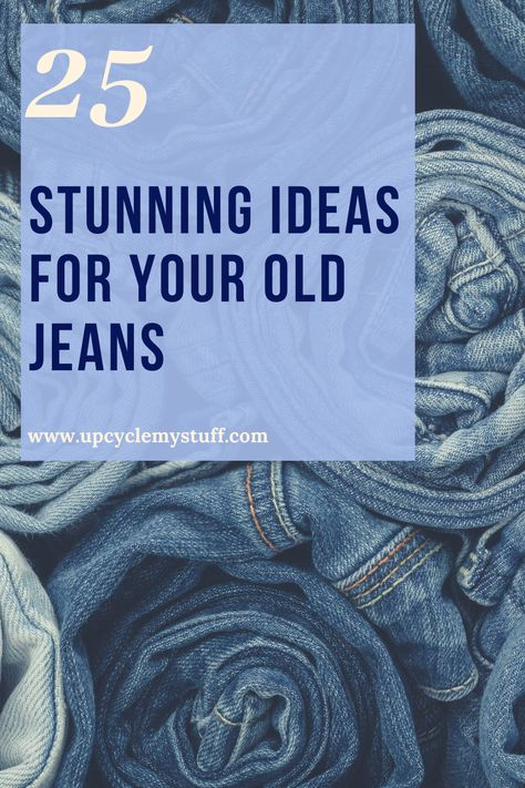 25 Stunning Ideas for Your Old Jeans DIY upcycling craft projects for repurposing and reusing your worn out old jeans. From gifts to jewellery and home decor ideas. ideas for jeans Jean Crafts, Denim Crafts, Upcycled Crafts, Diy Kleidung Upcycling, Diy Upcycling, Repurposing, Upcycling Projects, Diy Jeans, Denim Ideas