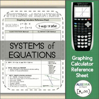 Graphing Calculator Reference Sheet Systems Of Equations With