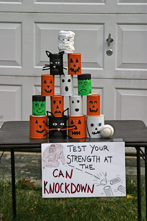 Can Knockdown-The Ultimate Halloween Party! Soirée Halloween, Halloween Games For Kids, Family Halloween, Diy Halloween Decorations, Holidays Halloween, Halloween Carnival Games, Garage Halloween Party, Halloween Party Ideas, Halloween Costumes