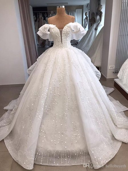 Bling Bling Crystals Luxury Sweetheart Lace Applique Cathedral Train Ball Gown Wedding Dresses Couture Wedding Dresses Destination Wedding Dresses From Sweetywe Ball Gowns Wedding Ball Gown Wedding Dress Destination Wedding Dress