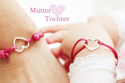 """**Die Liebe zwischen Mutter & Tochter...so besonders...für immer verbunden**  **ganz bezauberndes Armbandset """"Herzchen"""" made by myGreta**  Die zarten Nylonarmbänder sind absolut farbecht sowie..."""