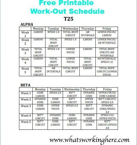 Free Printable T25 Work Out Schedule Glowingskinroutine Modelbeautyroutine Focus T25 T25 Workout T25 Workout Schedule