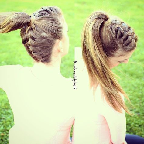Edgy Frenchbraid and upsidedownfrenchbraid into a ponytail on myself , Braidsandstyles12