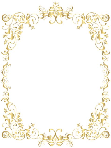 Border Gold Decorative Frame PNG Clip Art | Gallery Yopriceville - High-Quality Images and Transparent PNG Free Clipart