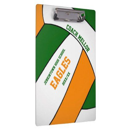 Green Orange Team Colors Volleyball Coach Clipboard Coaching Volleyball Team Colors Volleyball Coach Gifts