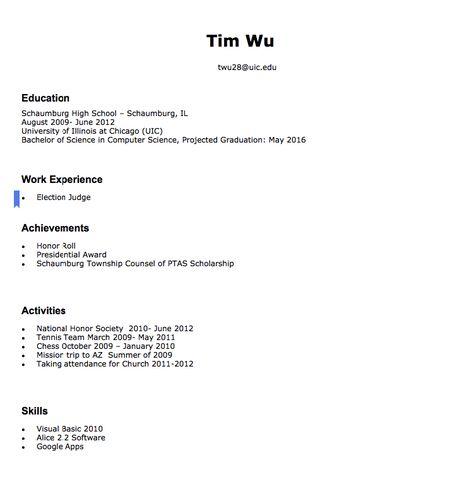 Tim Wu Election Judge twu28@uicedu Education Schaumburg High - nurse researcher sample resume
