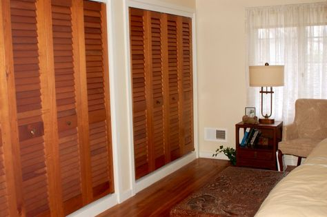 Custom Sized Bifold Closet Doors With 2 1 Tapered Plantation Louvers