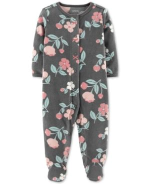 5d4f030bacb9 Carter s Baby Girls Floral-Print Footed Coverall - Gray 3 months ...