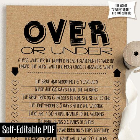 Over or Under, Editable Bridal Shower game, printable couples shower games, Instant download self ed