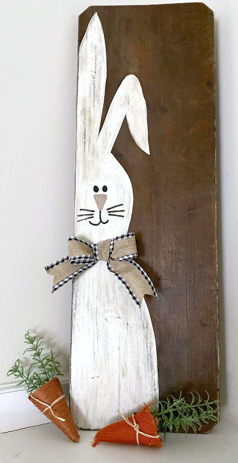 Rustic and Repurposed Bench Seat Easter Bunny Sign Bunny Crafts, Easter Crafts, Easter Dyi, Easter Ideas, Spring Crafts, Holiday Crafts, Hoppy Easter, Easter Bunny, Easter Paintings