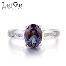 2905034847 Leige Jewelry Oval Cut Lab Created Alexandrite Ring Wedding Ring 925 ...