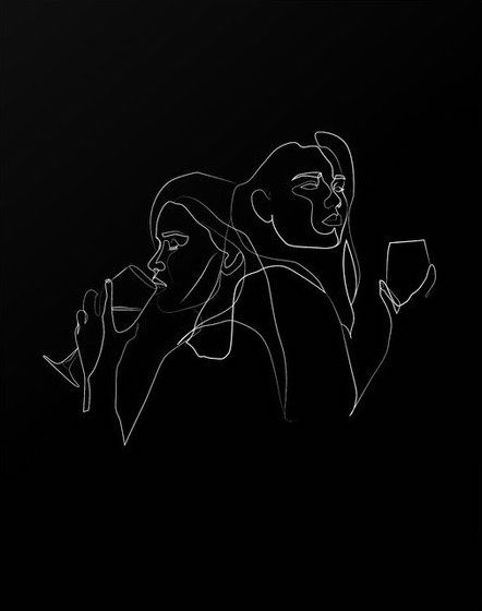 Red Lips Wine Dips Abstract Line Art Line Art Drawings Art