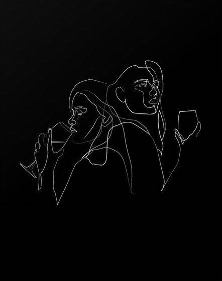 Red Lips Wine Dips Abstract Line Art Line Art Drawings Minimalist Art
