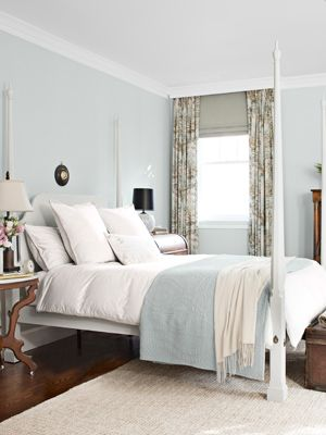 """Benjamin Moore Color... """"ashmead gray."""" I have been looking for the perfect gray and I think I may have found it with this subdued, beachy, milky color. I love the serene, calm feeling it gives this room."""
