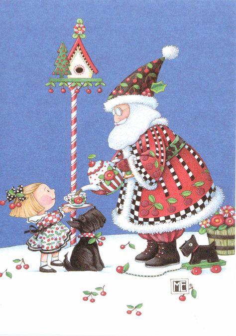 Mary Engelbreit-SANTA CLAUS CHERRY TEA PARTY SCOTTIE Paperworks Blank Card-NEW!