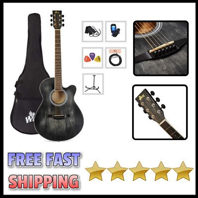 Acoustic Guitar With Pickup Bag Case Tuner Stand Strap Guitar Acoustic Guitar Acoustic