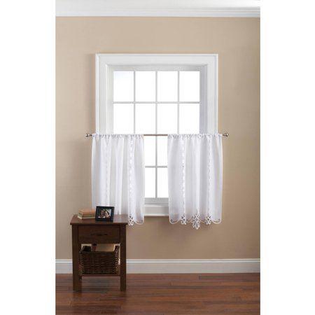 Mainstays Battenburg White Lace Kitchen Curtains Set Of 2