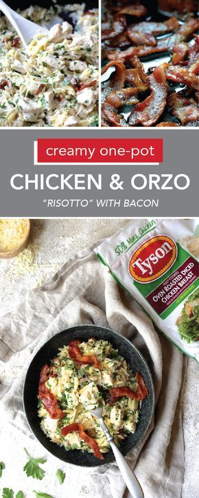 Creamy One Pot Chicken And Orzo Risotto With Bacon Recipe Cooking Recipes Orzo Risotto