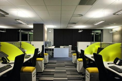 Love The Carpet And The Yellow Dividers Don T Think A Bunch Of Civil Engineers Would Go For It Though Small Office Design Interior Design Office Space Office Interior Design