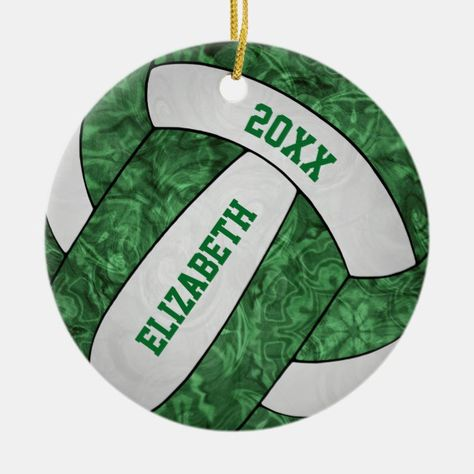 Green White Girly Volleyball Festive Ceramic Ornament Zazzle Com Volleyball Christmas Ceramic Ornaments White Elephant Gifts