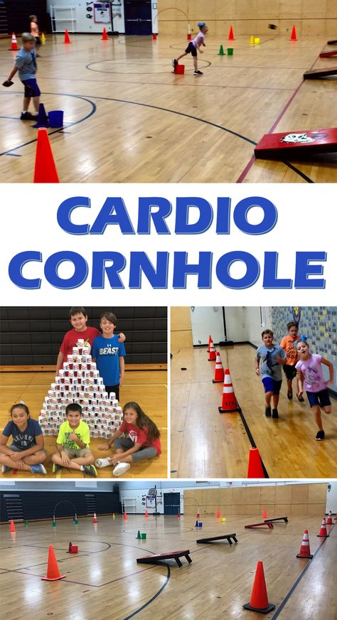 This Cardio Cornhole activity allow students to work on cardio, tossing skills, team building, and more. PE Teacher Marty Carter shared this great idea for #physed!