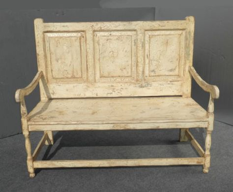 Cool Vintage French Country Off White Wood Bench With Crackle Onthecornerstone Fun Painted Chair Ideas Images Onthecornerstoneorg